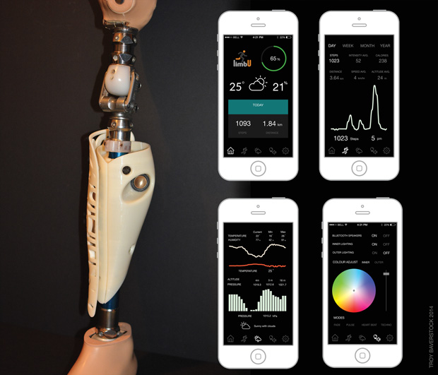 The limbU prosthetic device integrates sensors and lights for data collection and customization. Image courtesy of Troy Baverstock.