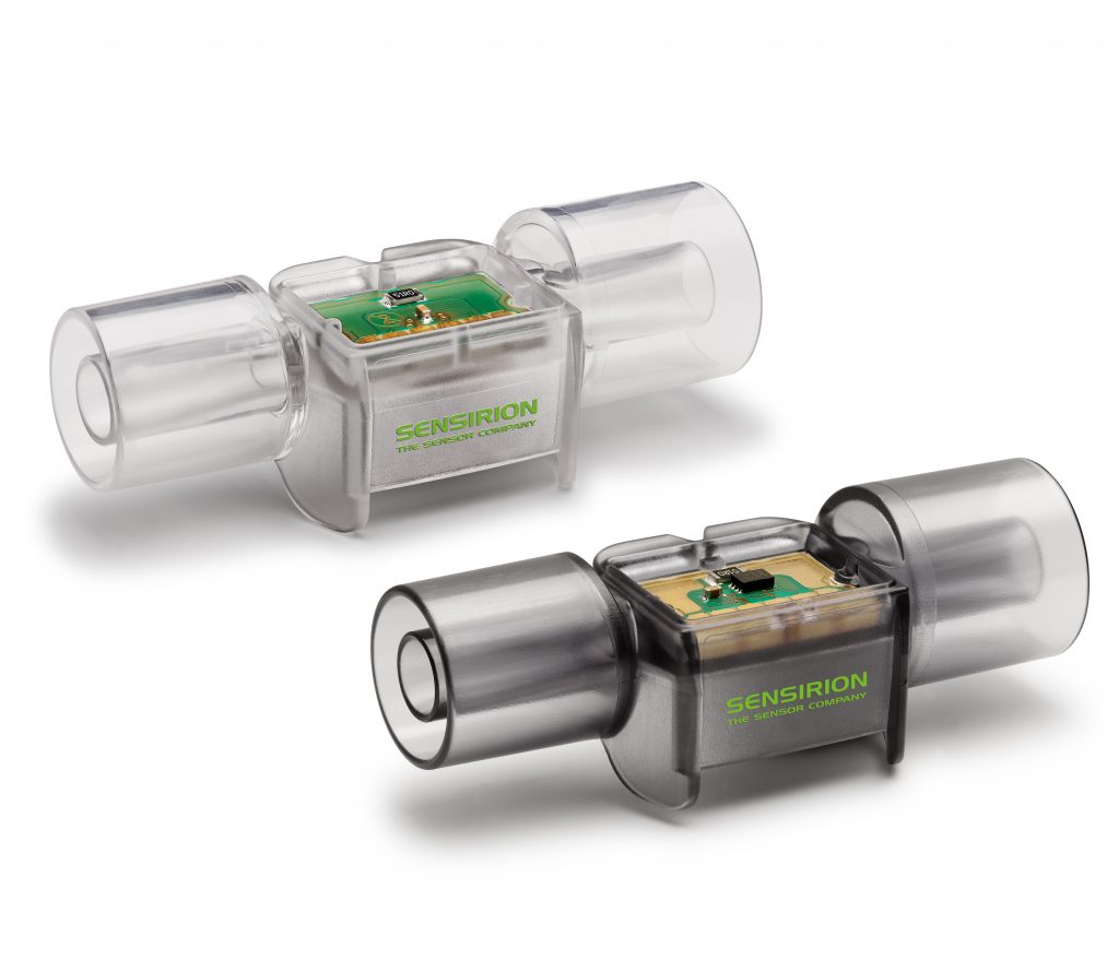 The new flow sensor is available as both a single-use solution (SFM3400-D) and a reusable solution (SFM3400-AW). Image courtesy of Sensirion.