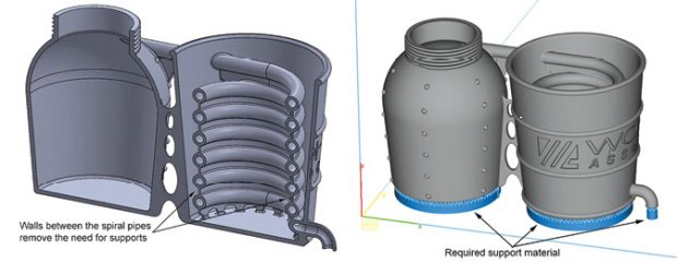 Design for additive manufacturing: Concept for a 3D printed mini-distillery, whose layout demonstrates integrated tubing and minimal supports (in blue, to be removed later). Image courtesy of Olaf Diegel.