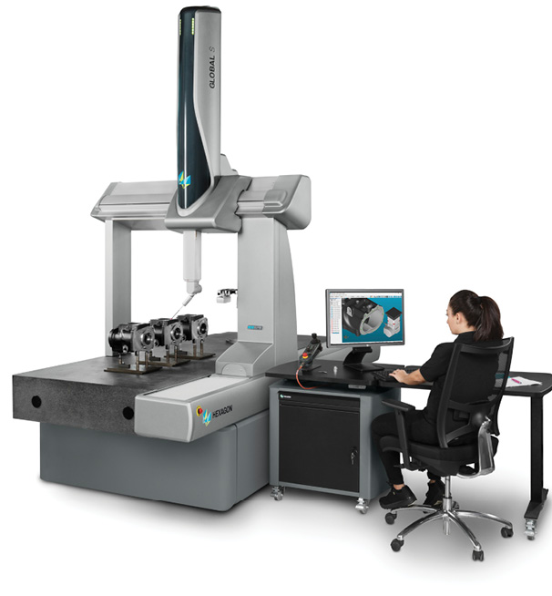 The GLOBAL S coordinate measuring machine (CMM) is available in three performance levels: Green, Blue (shown here) and Chrome. Image courtesy of Hexagon Manufacturing Intelligence.