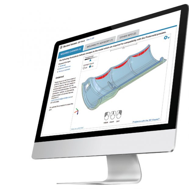 The Protolabs online portal provides a review of issues that shows changes via a 3D model. Image courtesy of Protolabs.