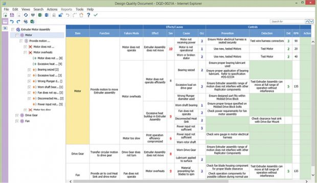 Aras Innovator's Failure Mode and Effects Analysis (FEMA) service has been architected to look and feel like Excel for optimum usability. Image courtesy of Aras.