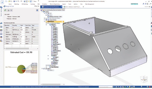 A new sheet metal enhancement updates the estimated cost of a part in real time as you make changes to the model.